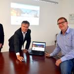 Onlineschaltung Stadt Weißenfels (v.l.): Christopher Sipp (Projektleiter brain-SCC GmbH, Robby Risch (Oberbürgermeister) und Detlef Schmolke (Administrator Stadt Weißenfels)